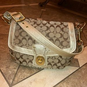 Coach Gold khaki Signature Shoulder Bag Turn Lock